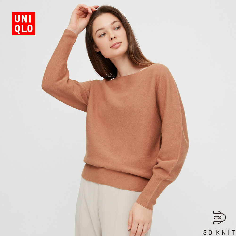Uniqlo Womens 3D Cotton Boat Collar Knitwear (Long Sleeve) 428854 UNIQLO