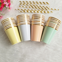 Disposable birthday party hot gold paper cup double-layer paper cup high-end colored paper cup picnic thickened.