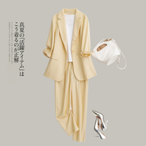 Yellow Tencel suit suit womens summer thin slim slim temperament professional formal casual small suit jacket