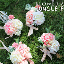 JF Orange pink Hydrangea bride hand Flower Groom Brooch Flower Annual conference party knot Wedding tour shooting Shadow