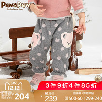 Pawinpaw cartoon Cubs Childrens wear 18 new winter baby velvet casual trousers infant large pp Pants