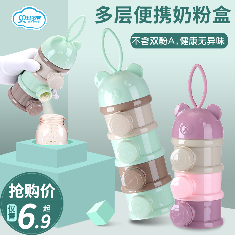 Baby milk powder box portable out of the side food baby divided into small rice powder box sealed milk powder grid storage tank