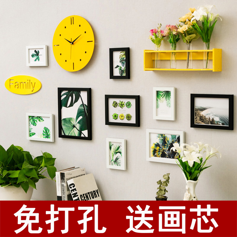 Creative net black milk tea shop wall green plant wall hangings decoration bedroom wall ins room layout