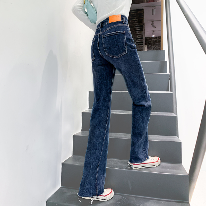 Straight jeans womens winter high waist plus velvet thin 2020 loose leg thick trousers autumn and winter new model