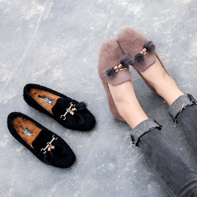 Molin 2018 winter new fur shoes female round head rabbit hair female single shoes warm fashion flat shoes Korean women's shoes