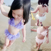 Baby baby girls swimsuit split lace back swimsuit swimsuit 2017 new children 1-2-3 years old