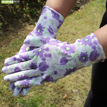 Horticultural Flower Gloves Nylon ms. Color coated dipping adhesive coated hand printing PU labor protection work Thin gloves
