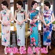 Cheongsam summer 2017 retro fashion style of the Republic of China long silk cheongsam dress length cheongsam
