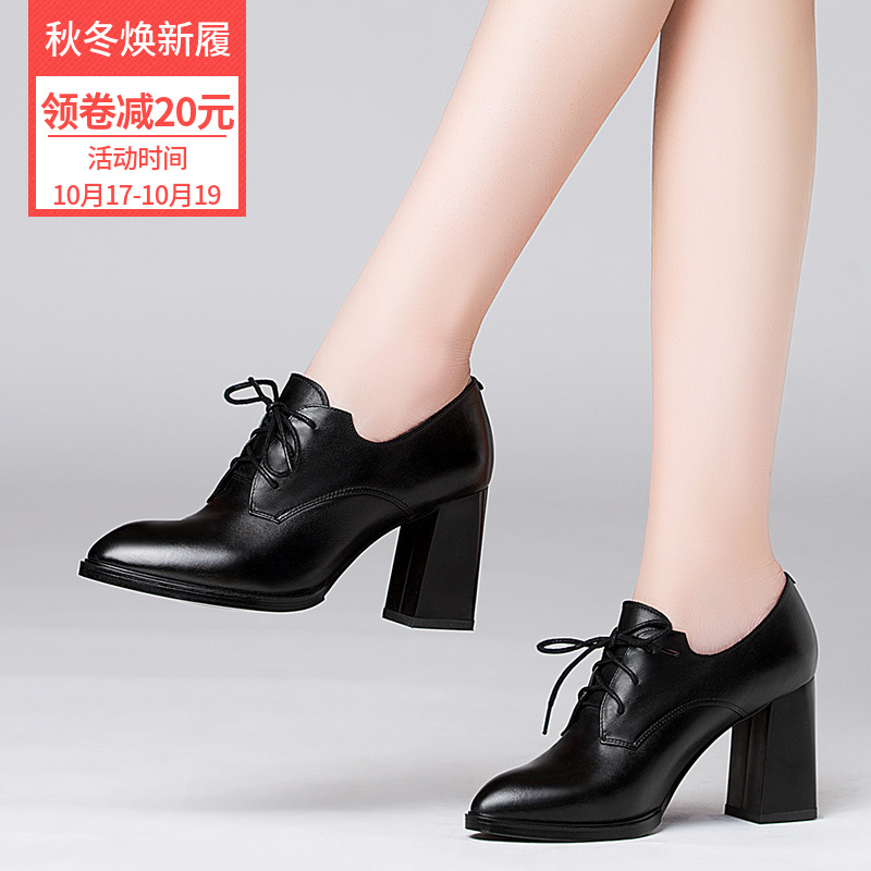 Autumn Shoes Female 2019 Hundred Fashion Shoes Korean Version Spring and Autumn Single Shoes Winter High-heeled Shoes Coarse-heeled Leather Shoes