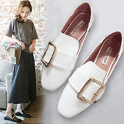 2017 lazy Doug shoes shoes buckle shoes Square all-match Harajuku obediently shoes British style flat shoes