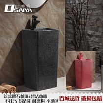 Black Small column basin integrated floor-to-ceiling outdoor red vertical ceramic column basin Courtyard wash basin Basin integrated
