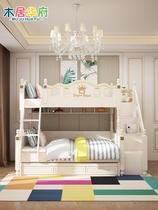 Детская кровать двухъярусная кровать двухъярусная деревянная кровать двухъярусная современная американская детская кровать двойная многофункциональная комбинированная кровать