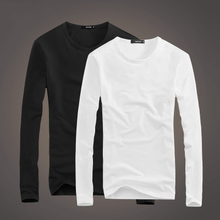Long-sleeved t-shirt men's round neck white autumn clothes men's Slim solid color primer shirt tight autumn jacket men