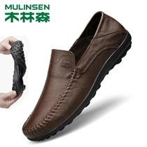 Wood Linsen mens casual leather soft bottom lazy Bean shoes