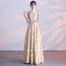 Champagne elegant banquet ladies  neck dress.