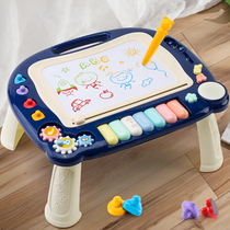 Childrens graffiti toddler small drawing board magnetic brush painter with a writing board can wipe the baby toy 213 years old