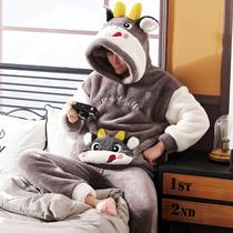 Mens pajamas autumn winter winter coral velvet plus plus-velvet frankinckin cartoon home clothing mens winter suit