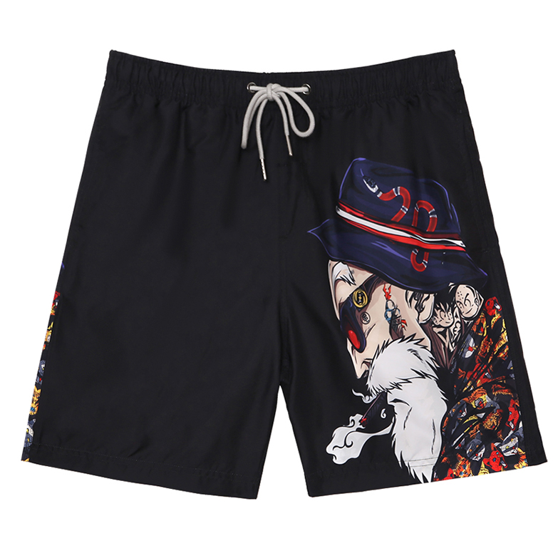 Can go under the water mens quick dry beach pants hot spring swimming trunks cartoon loose-fitting size five-point pants vacation casual shorts