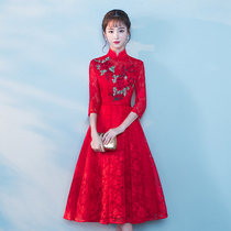 Autumn Chinese modified red Chinese style wedding dress