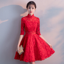 Chinese winter red cropped slim dress