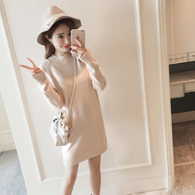 2018 autumn and winter new style long sleeved knitted bottoming shirt, high necked sweater, loose top dress, Korean version.