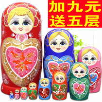 Russian set 10 floor imported genuine puzzle toys lime wood dried hand-painted handmade gift decoration 5412