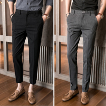 Mens Thin section Korean version of Slim little feet 9 casual suit pants
