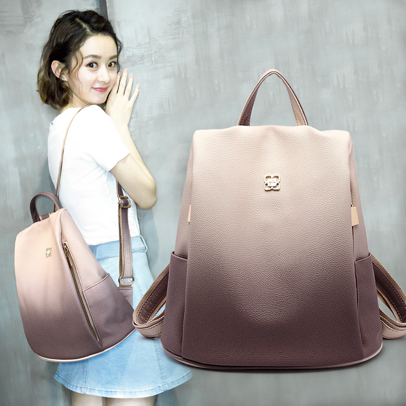 Ins super fire package 2018 new bag anti-theft soft leather fashion backpack female Korean version of the tide ladies wild backpack