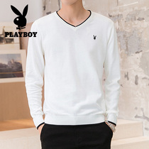 Playboy sweater men autumn winter Korean trend loose V-neck cotton sweater mens turtleneck sweater