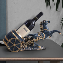 Horse red wine rack ornaments home decoration crafts move to the new house set table wine cabinet decoration
