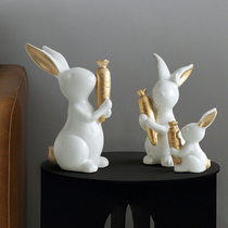 Cute rabbit decoration a family of three home decoration creative cute room book tabletop wine cabinet small decoration