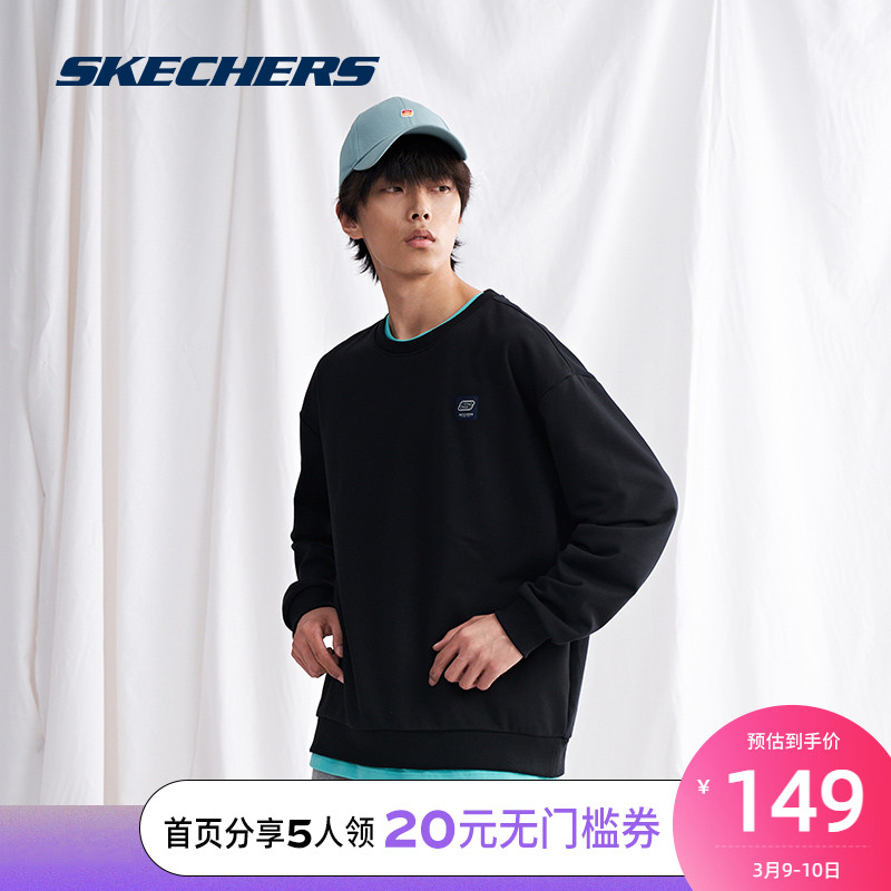 Skechers Sketch sportswear mens knitted round collar casual knitted long-sleeved sweater L420M149