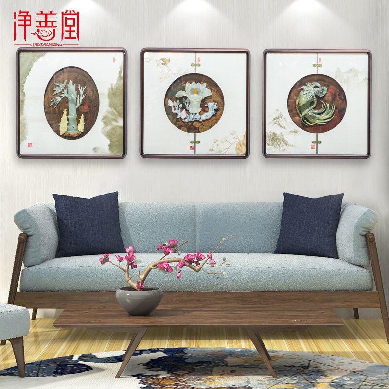 New 70 square jade carving Pendant New Chinese wood carving wall hanging Dongyang carving living room porch sofa background