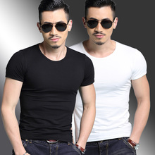 Two men's short-sleeved T-shirts with black, white and pure white cotton bottoms and half sleeves