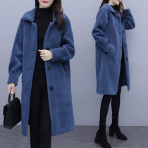 Large size womens autumn and winter lamb hair coat womens long 2020 new fat sister loose show thin age coat.
