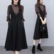 Large size womens 2020 autumn winter new strappy skirt suit foreign air-reducing fat sister thin dress two-piece set