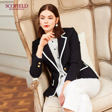 Scofield women's new soft wool contrast V-neck splicing suit jacket sfjka12022q