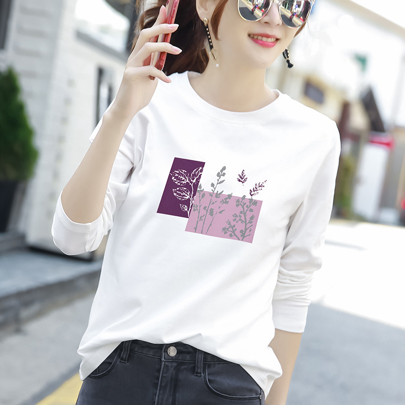 2 pieces 69)cotton spring 2021 new loose Korean version of the white long-sleeved t-shirt womens base shirt top