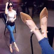 Shoes shoes flat flat heels 2017 New Pearl Spring metal ball shallow mouth tip all-match suede
