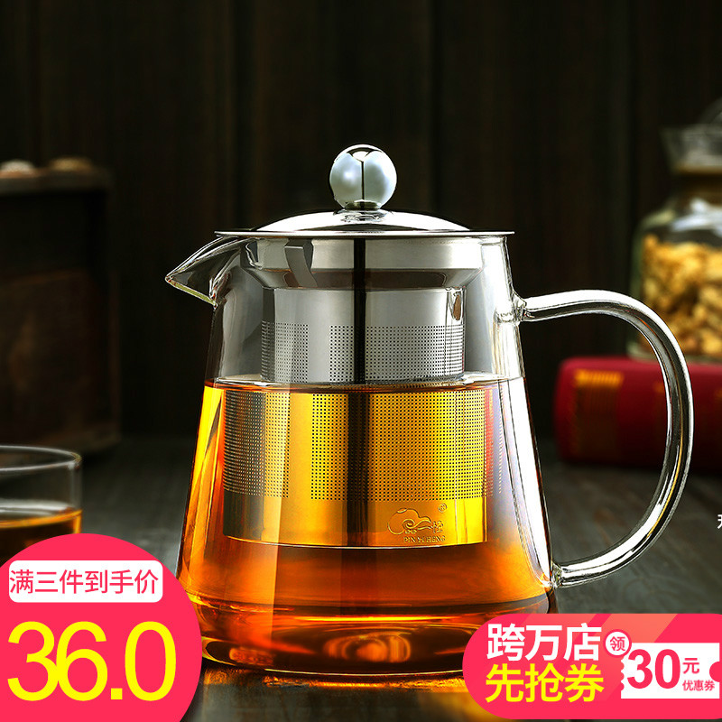 Glass single pot pottery oven boiling Teapot Set high-temperature tea-making Pu'er tea set household boiling kettle thickening and filtering