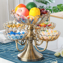 European crystal glass multi lattice candy plate American snack plate home living room coffee table creative fruit plate dry fruit plate