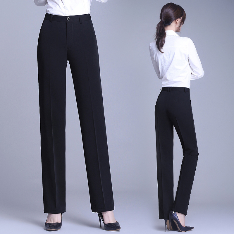 Suit pants spring and summer professional work feeling thin pants women straight high waist loose pants black work pants