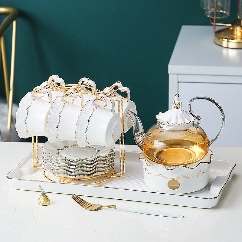 Light extravagant English afternoon teapot set family candle heating flower tea fruit tea cup glass tea set Nordic style
