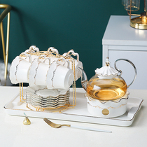 Light luxury English afternoon teapot set Household candle heating flower tea Fruit tea cup Glass tea set Nordic style