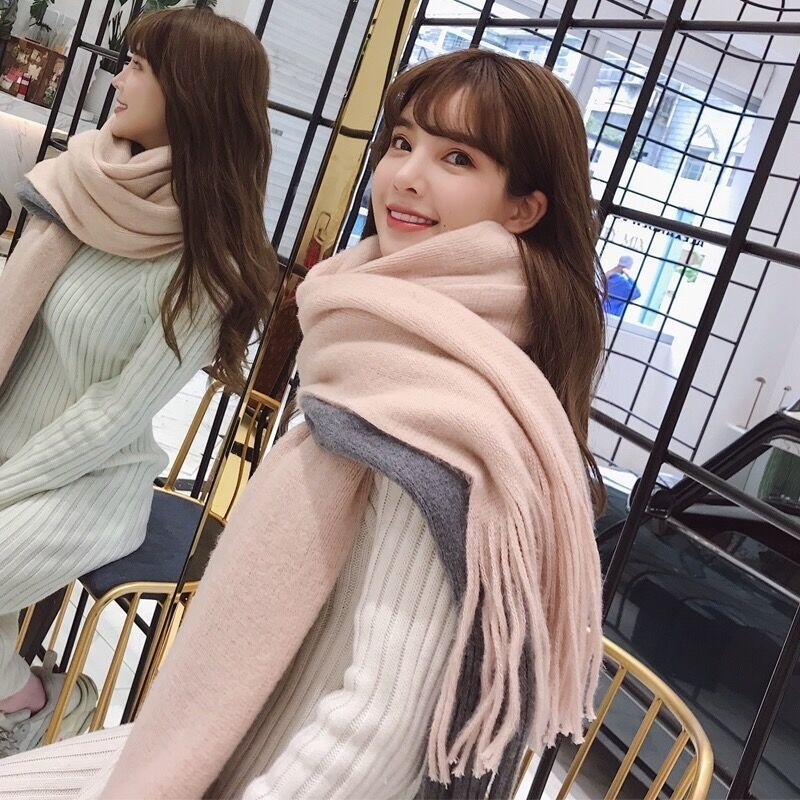 Scarf female autumn and winter mens winter Korean version of the tide of student cashmere knit couple fashion thickened wool neck