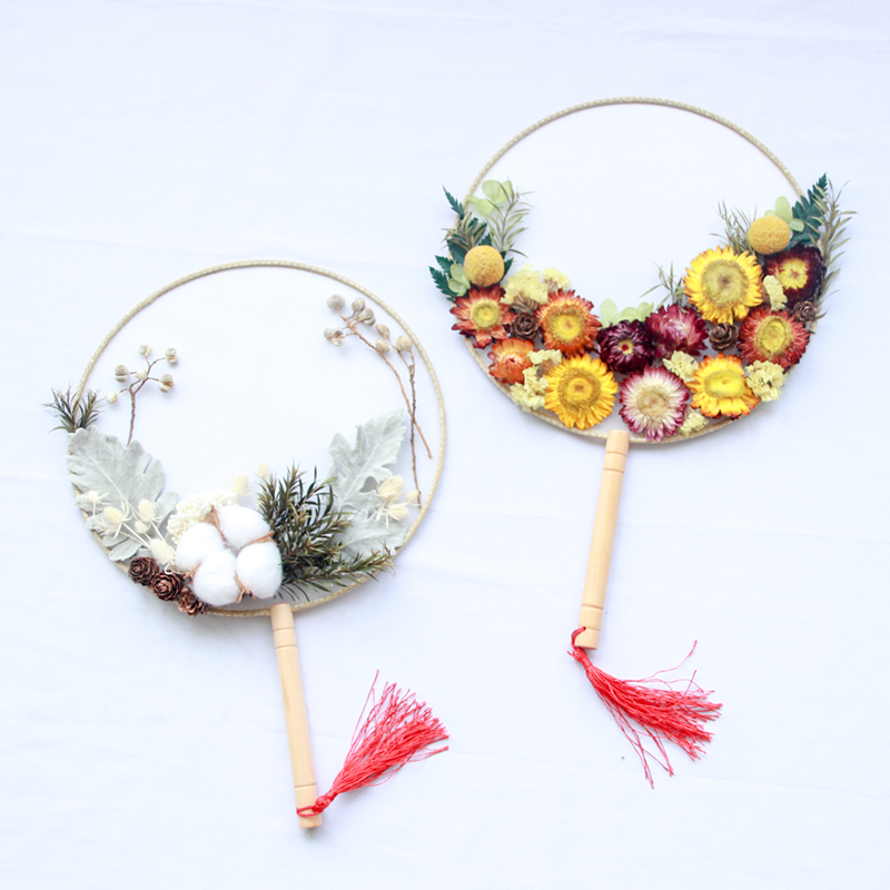 DIY Handmade Flower Club Fan Package Creative Ancient Style with Hand Ceremony Festival Salon Activities