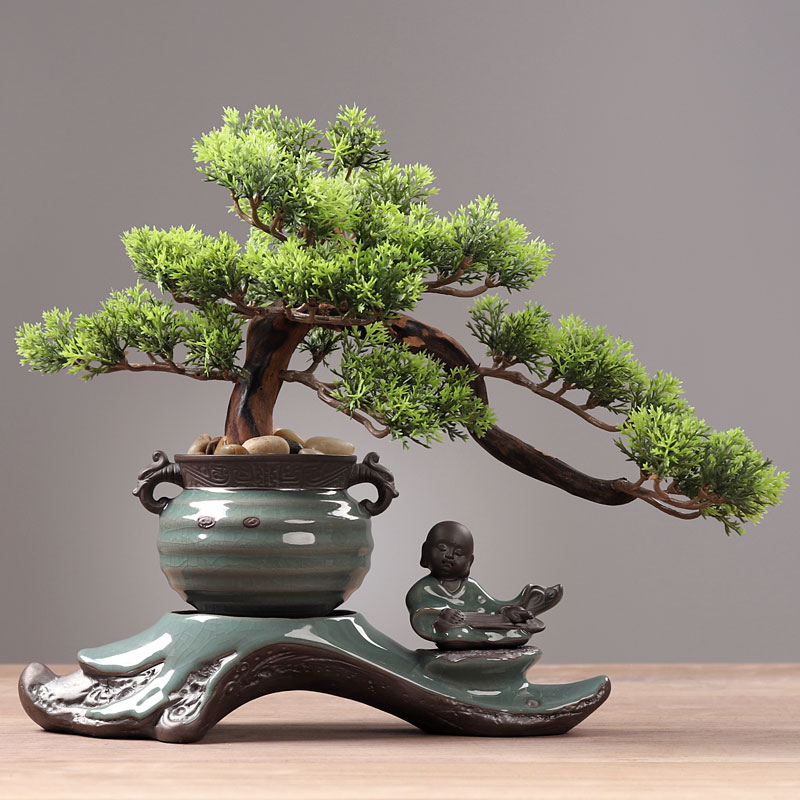 Creative fake tree greeting pine bonsai decoration simulation plant decoration green living room indoor tabletop potted decoration