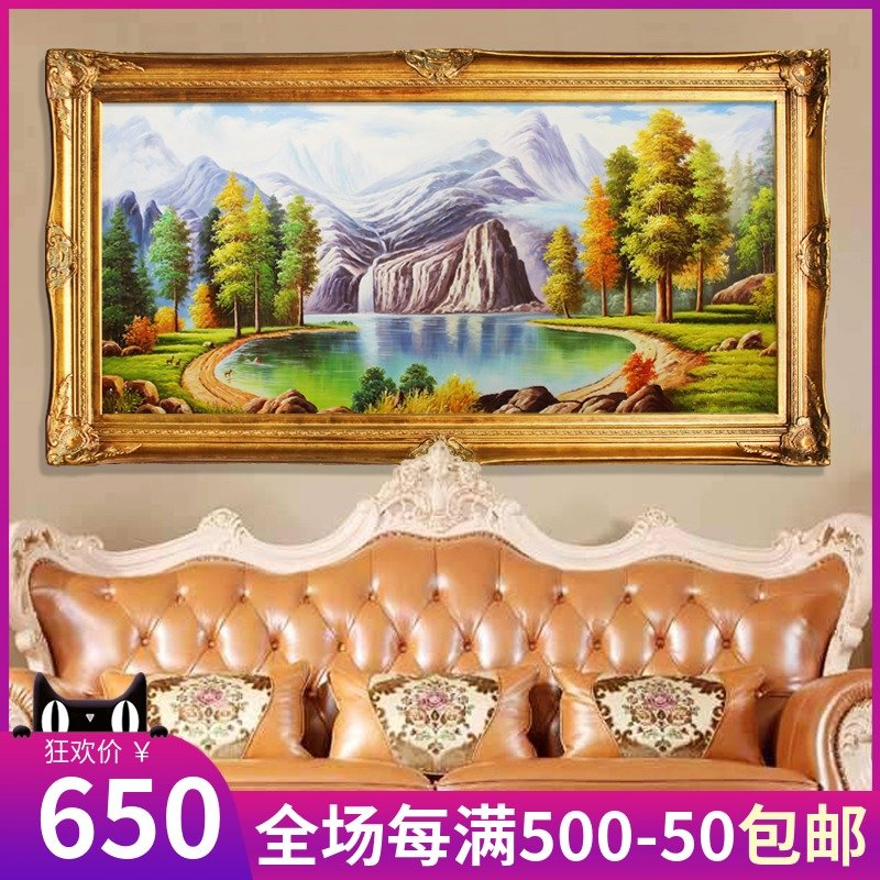 European-style hand-painted oil painting living room decoration sofa background wall Jubao deer hanging pot handmade landscape painting