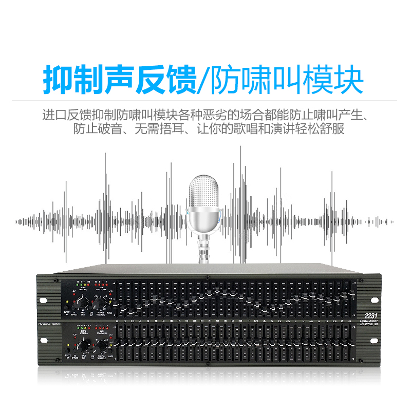 Industrial Dual 31-Section 3-Class Dolby Noise Reduction Equalizer 231 1231 2231 Voltage Limited Noise Threshold 3U Equalizer