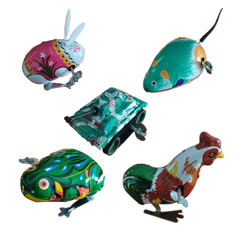 Frog toys 8090 nostalgia chickens children Classic Animal tremble with the same style hair tin jump frog